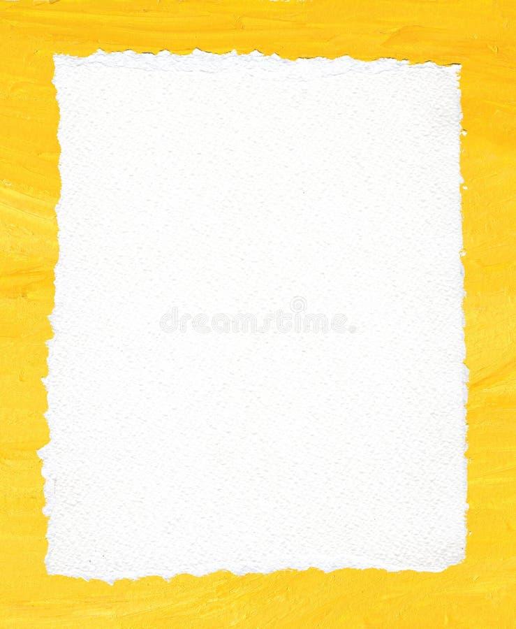 Texture déchirée de papier sur le fond jaune acrylique illustration de vecteur