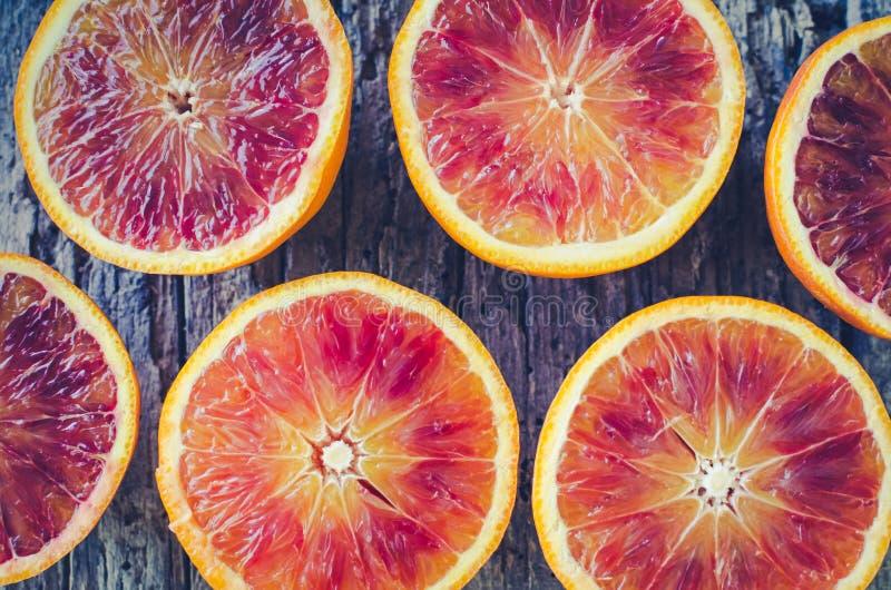 Texture découpée en tranches d'oranges sanguines photographie stock