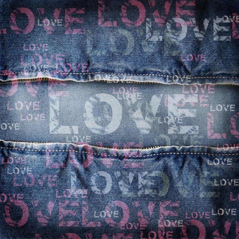 Texture d'amour de denim de fond illustration libre de droits