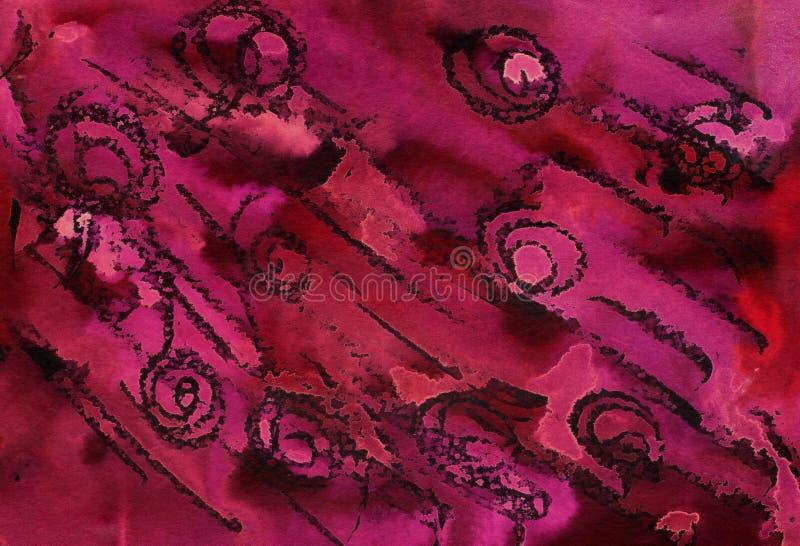 Texture d'aquarelle en rouge, fait main pour la conception photo libre de droits
