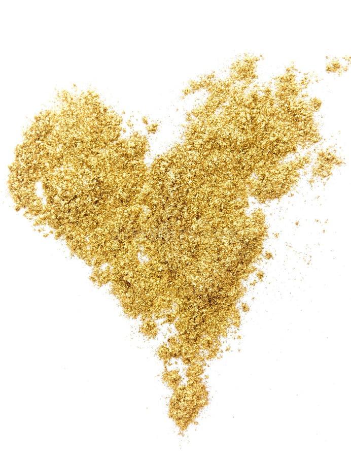 Texture d'or de coeur d'étincelle de scintillement sur le fond blanc photographie stock libre de droits