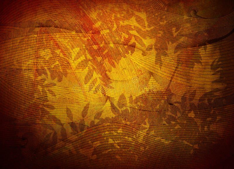 Texture d'or de fond avec le feuillage illustration stock