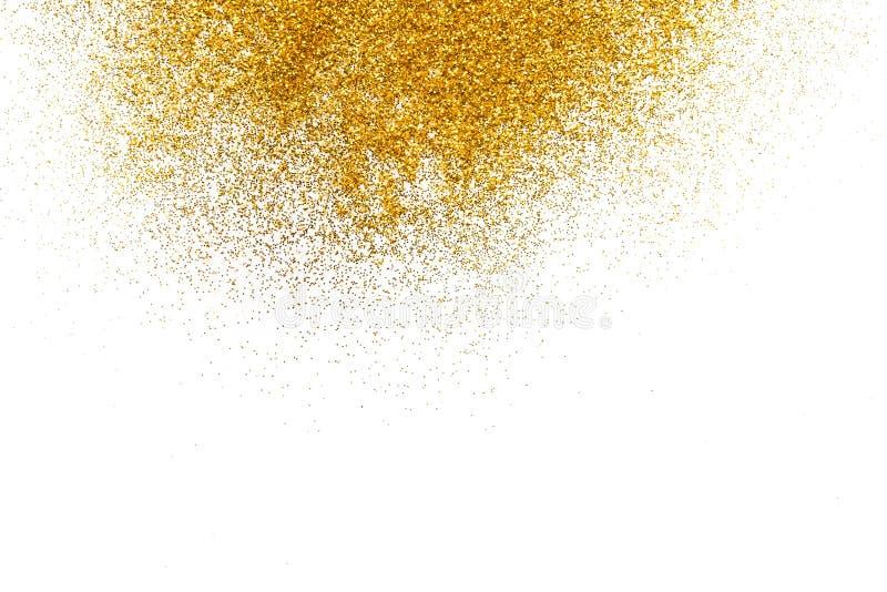 Texture d'or de sable de scintillement sur le fond blanc et abstrait photographie stock libre de droits