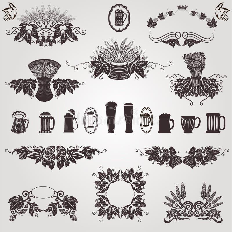 Texture d'houblon de tasse d'élément de cru de bière vieille illustration stock
