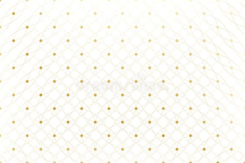 Texture d'or Modèle bordé géométrique avec les lignes et les points reliés Raye des cercles de plexus Fond graphique illustration stock