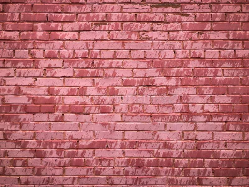 Texture d'un vieux mur de briques criqué de belle offre peu commune unique de rose des briques rectangulaires avec des coutures p photographie stock libre de droits
