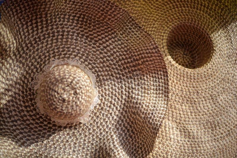 Texture de fin sèche de chapeau de paille, textu de chapeau d'armure de paille de Brown image libre de droits