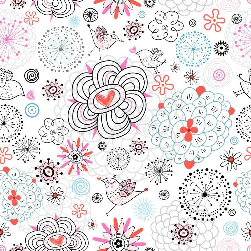 Texture de fleur avec amour d'oiseaux illustration de vecteur