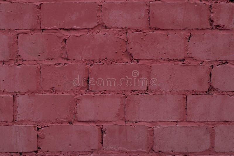 Texture de fond rose de mur de briques Rétro plan rapproché abstrait de mur de briques rose peint par texture Architecture rouge  photographie stock libre de droits