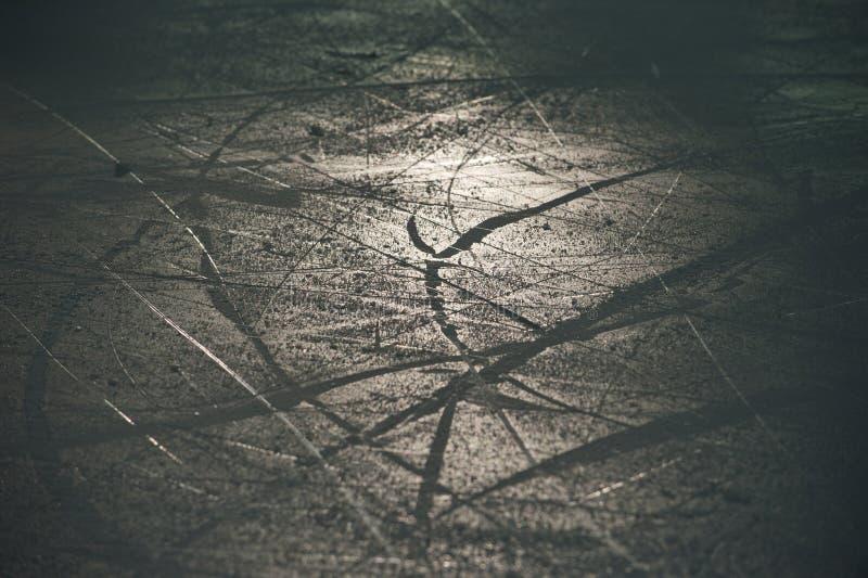Texture de glace dans le tir d'arène de glace dans le contre-jour image stock