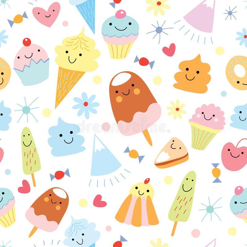 Texture de la crême glacée et du gâteau d'amusement illustration de vecteur
