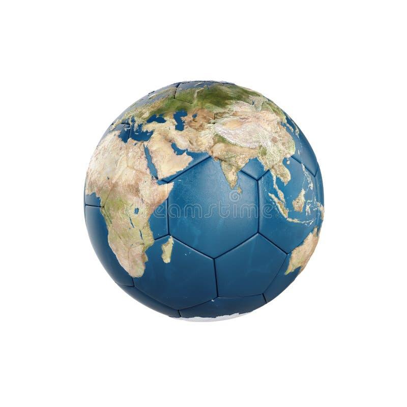 texture de la terre du globe 3d sur le ballon de football d'isolement illustration stock