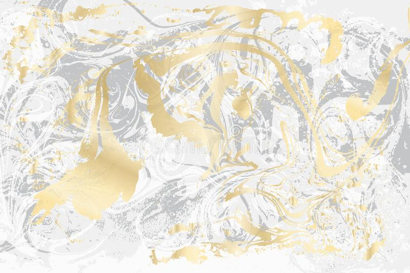 Texture de marbre blanche et grise Modèle marbré par or Surface légère de vecteur illustration libre de droits