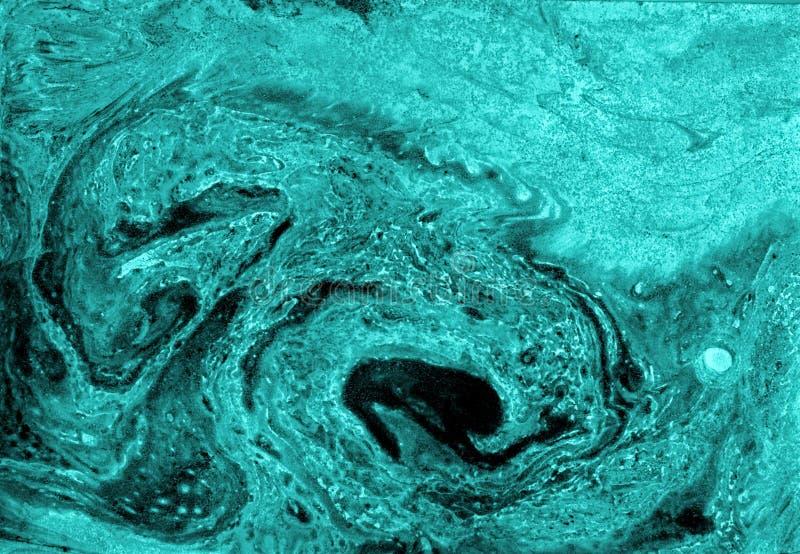 Texture de marbre bleue de noir de résumé, art d'acryliques photographie stock libre de droits