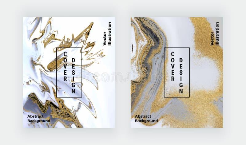 Texture de marbre liquide de scintillement noir, blanc et d'or Modèle réglé d'abrégé sur peinture d'encre Milieux ? la mode pour  illustration stock