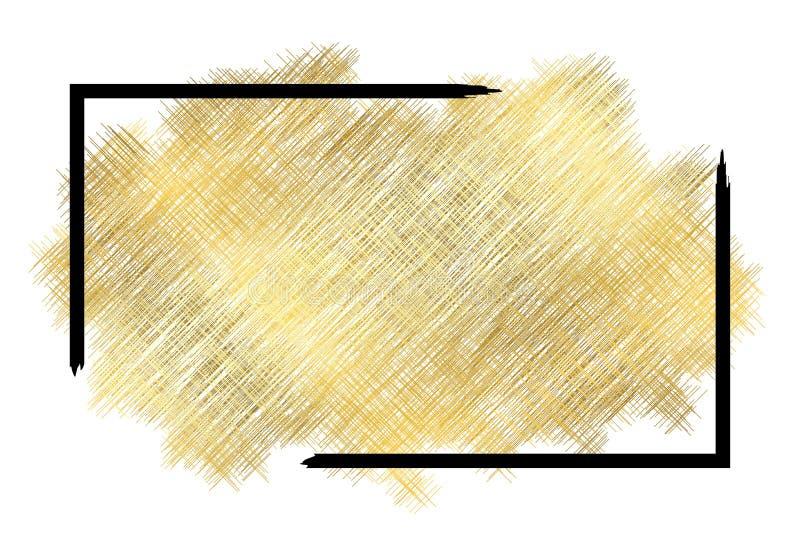 Texture de metall d'or, cadre noir Fond blanc d'isolement par course d'or de peinture de couleur Conception de tache de scintille illustration libre de droits