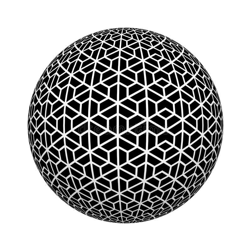 Texture de modèle d'hexagone Fond classique dans la couleur noire et blanche sur la forme de boule ou de sphère d'isolement sur l illustration libre de droits