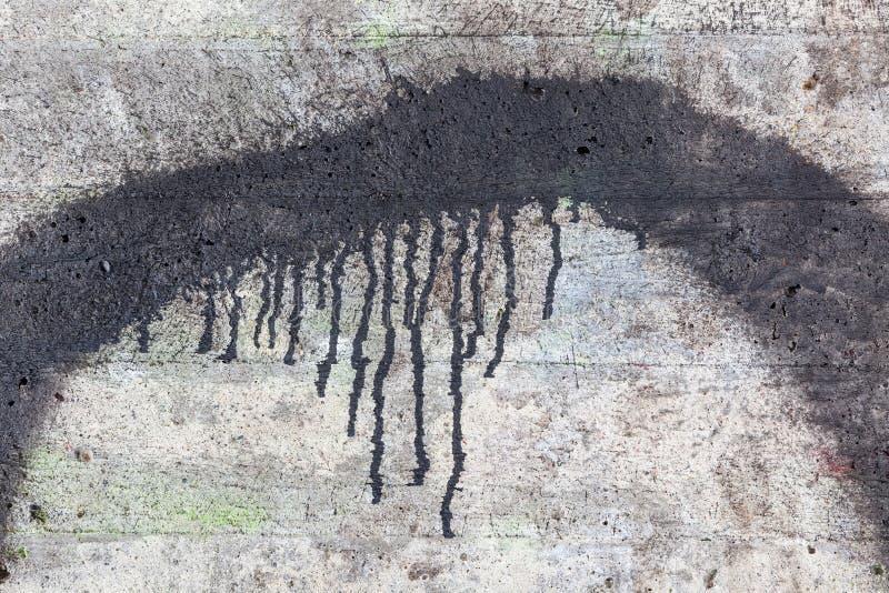 Texture de mur en béton et égoutture noire de peinture image libre de droits