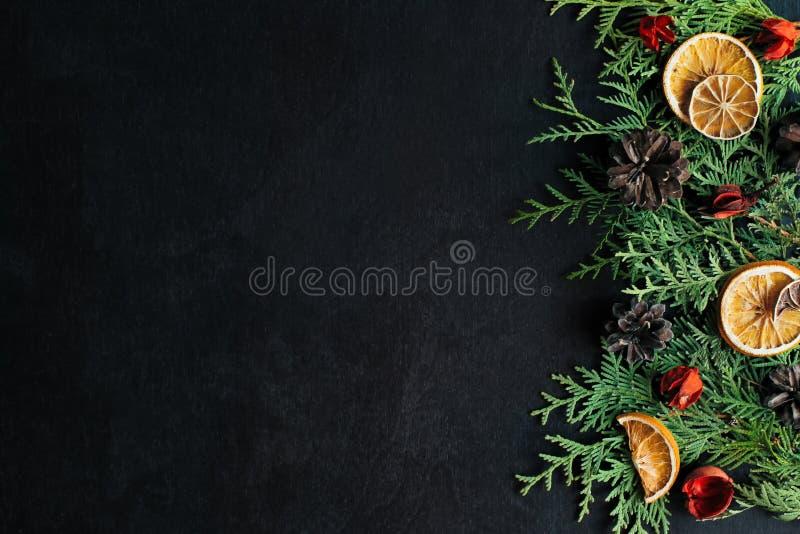 Texture de Noël décoration Sur un fond noir photos stock