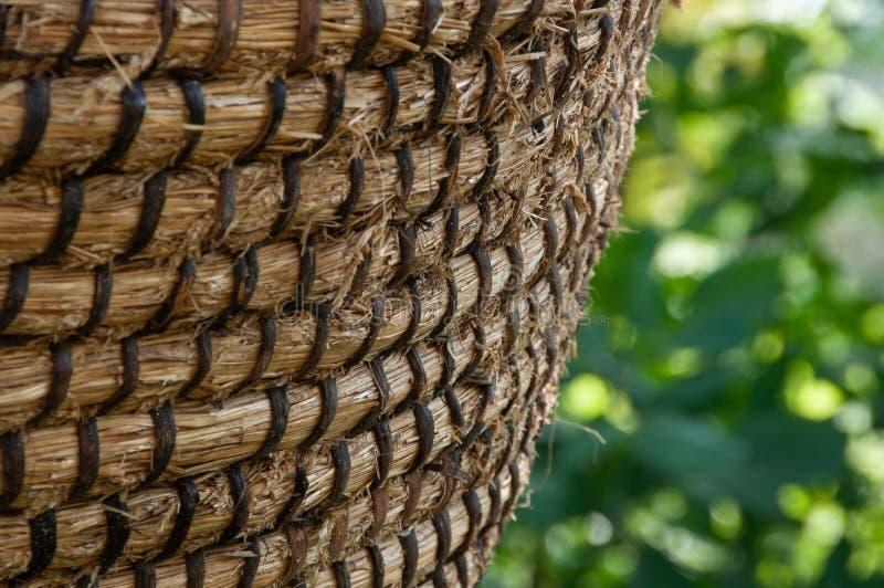 Texture de panier d'osier ou de rotin Panier pour la paille, plan rapproché photo stock