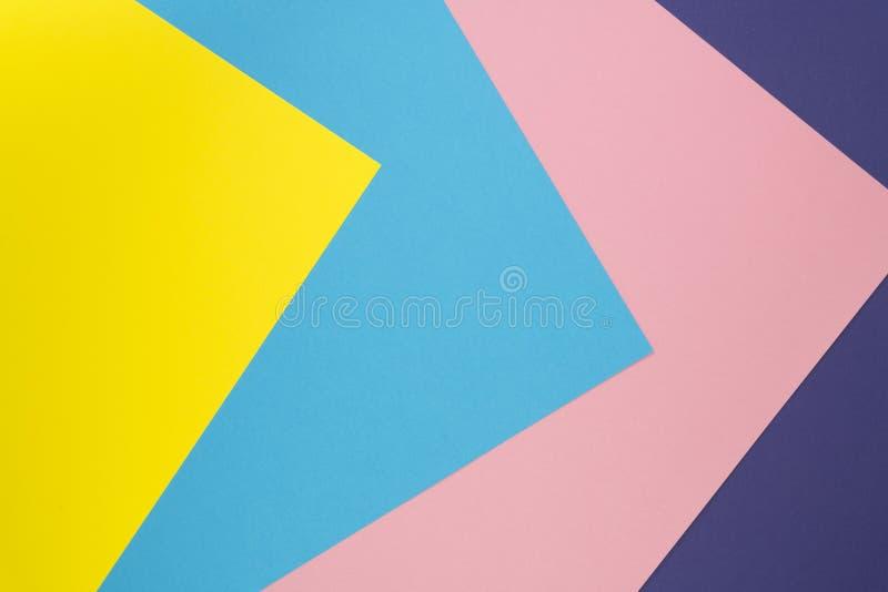 Texture de papier de couleur en pastel Fond géométrique créatif de configuration plate Configuration plate photos libres de droits