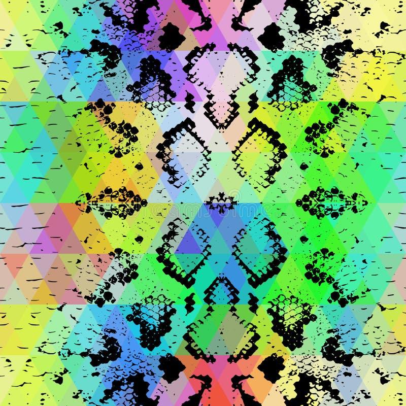Texture de peau de serpent avec le losange coloré Fond géométrique Fond jaune bleu pourpre de modèle de noir de vert sans couture illustration stock