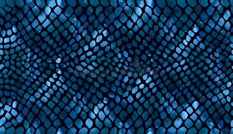 Texture de peau de serpent bleu-foncé sur un fond foncé dans l'aquarelle illustration de vecteur