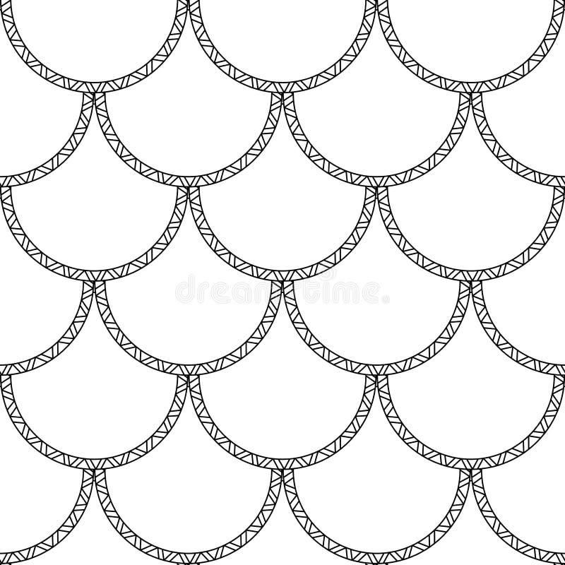 Texture de queue de sirène de vecteur Le poisson noir mesure le modèle sans couture sur le fond blanc illustration libre de droits