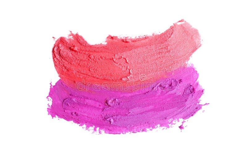 Texture de rouge à lèvres rose et rouge photos stock