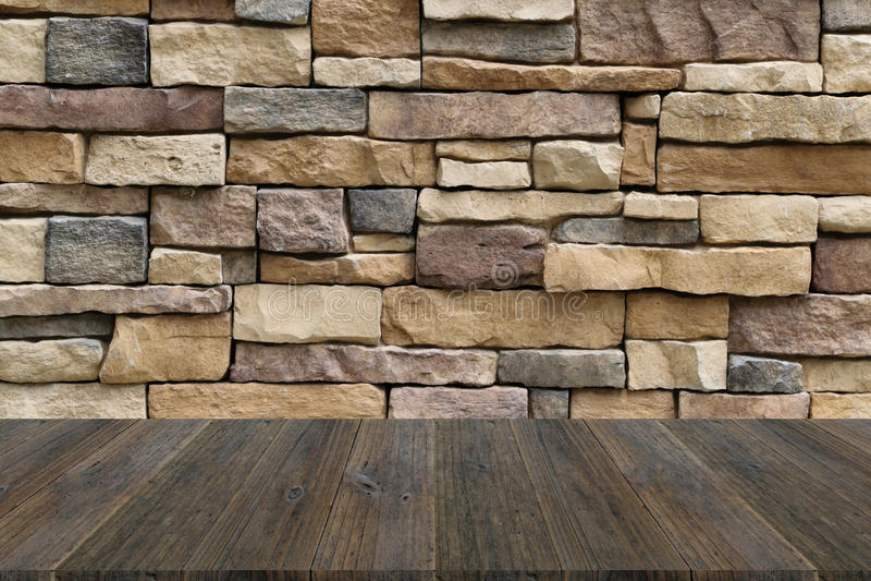 texture de terrasse en bois et de mur en pierre photo stock image 61762357. Black Bedroom Furniture Sets. Home Design Ideas