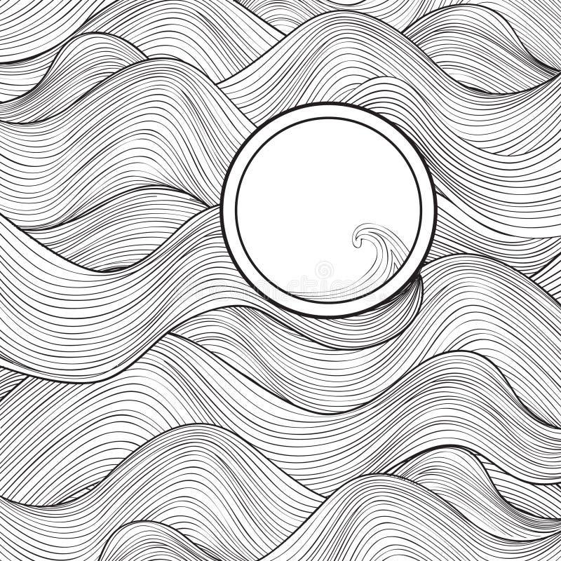 Texture de vague avec le cadre pour le texte A onduleux élégant noir et blanc illustration libre de droits