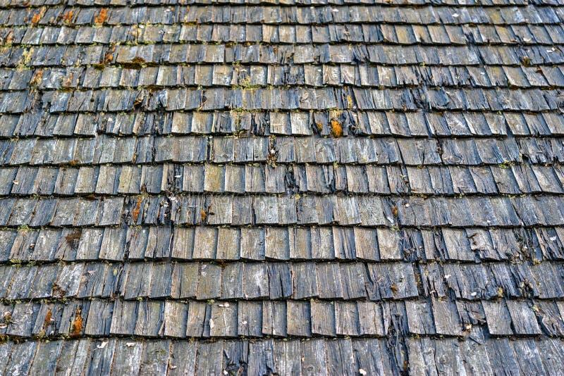 Texture de vieille flaque en bois ou de tuile en bois sur un toit pour un fond images stock
