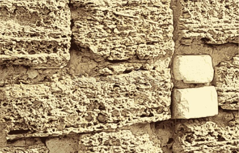 Texture de vieux mur de brun de chaux de coquina Texture extérieure de mur de maçonnerie Vecteur illustration stock