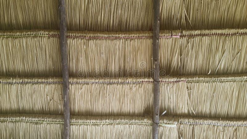 Texture de vintage de toit en bambou sec photographie stock