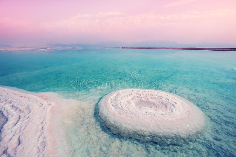 The texture of the Dead Sea salty shore stock image