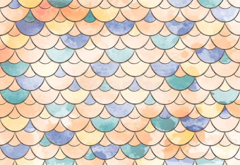 Texture des échelles et des vagues de poissons Peau colorée sans couture de poissons d'aquarelle de vecteur abrégez le fond illustration stock