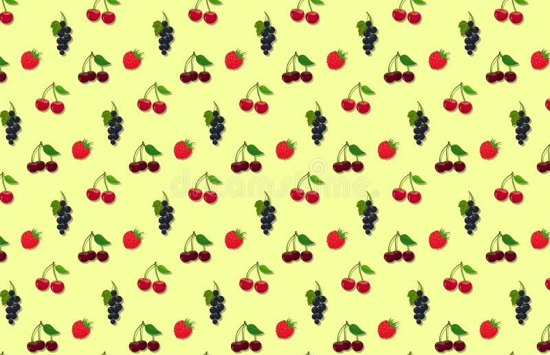 Texture des baies de jardin d'été sans joints. fond vectoriel avec framboise, cerise, cerise douce et curry noir illustration stock