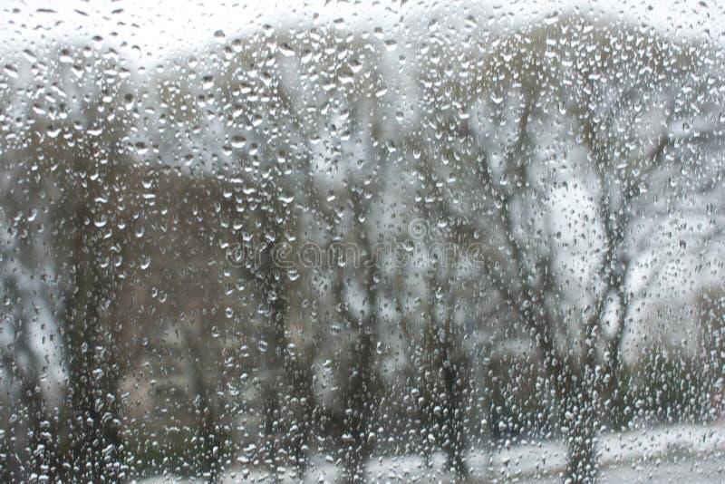 Texture des baisses de bokeh sur le verre devant le paysage urbain de parc image stock