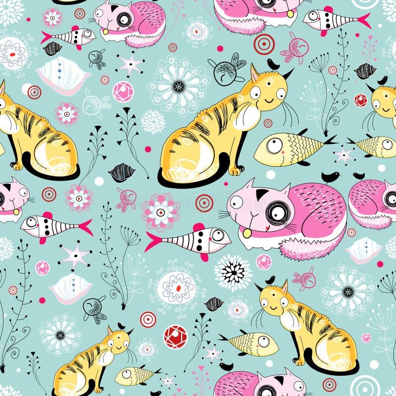 Texture des chats et des poissons illustration stock