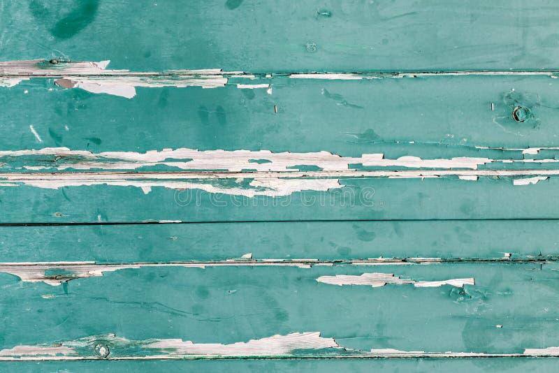 Texture des panneaux en bois orizontal avec l'épluchage vert de peinture de photo libre de droits