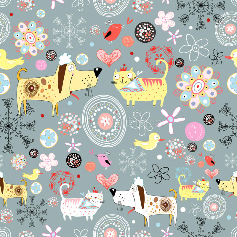 Texture of the dogs and cats. Floral seamless pattern with dogs and cats on a gray background