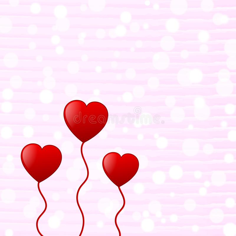 Red Hearts in White Bokeh and Horizontal Pink Watercolor Pattern Background royalty free illustration