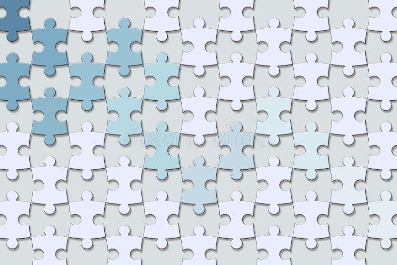 texture du papier peint 3d, fond bleu-clair de morceaux de puzzle denteux illustration de vecteur