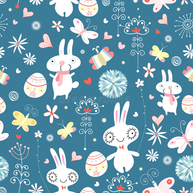 The texture of the Easter bunnies vector illustration