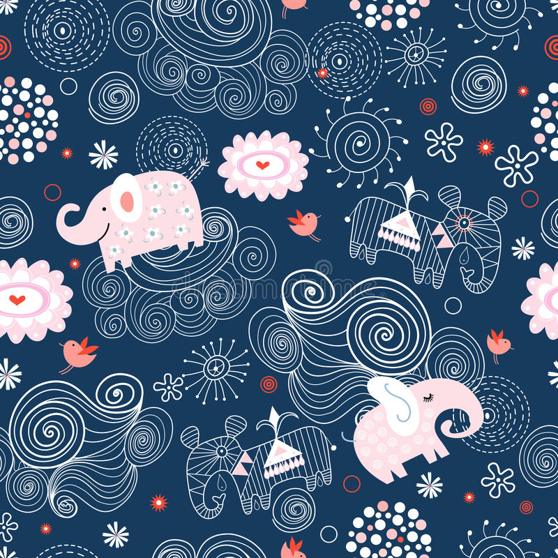 Texture of elephants in the clouds. Seamless pattern of pink elephants in the clouds on a dark blue background vector illustration
