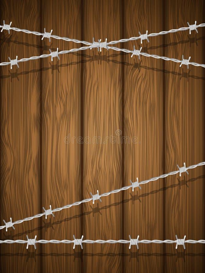 Texture en bois avec le barbelé. illustration de vecteur