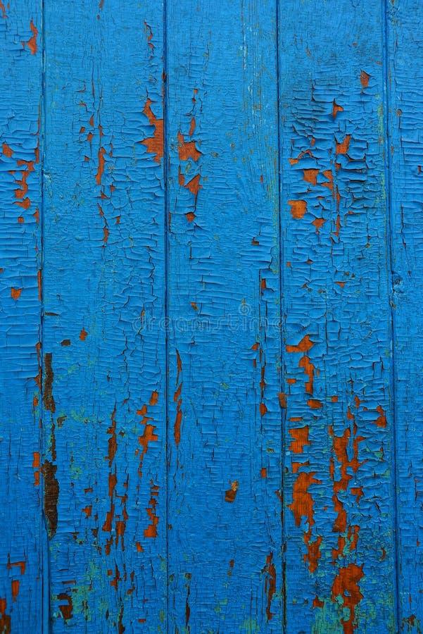 Texture en bois bleue de vieux panneaux frangés de barrière photo stock