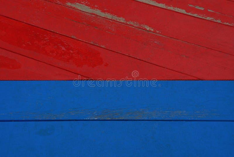 Texture en bois bleue rouge de vieux panneaux frangés de barrière photographie stock