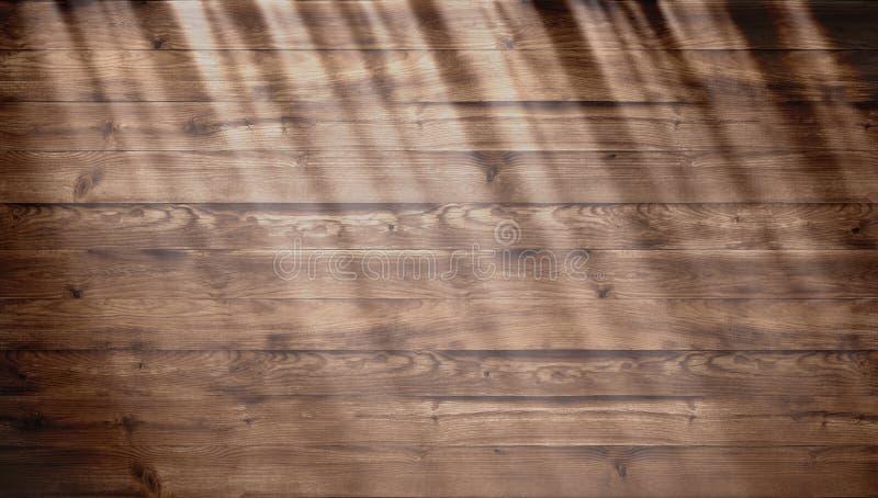 Texture en bois de Brown avec la lumière du soleil lumineuse, vieux fond de mur Vue supérieure de table en bois texture de vieill images libres de droits