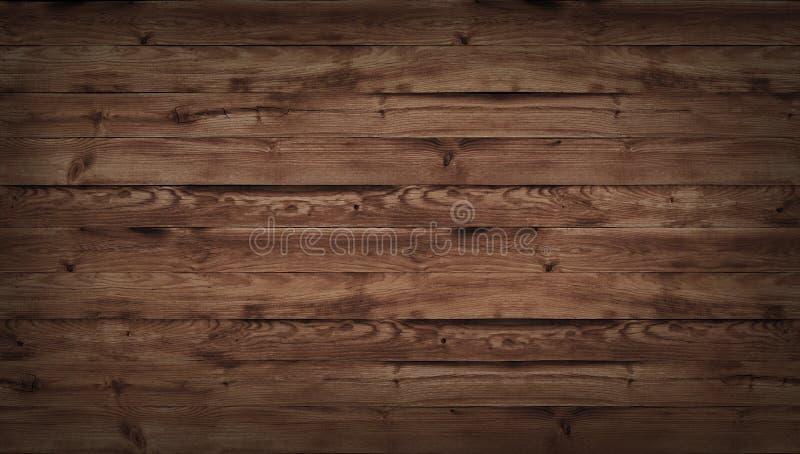 Texture en bois de Brown, vue supérieure de table en bois Fond foncé de mur, vieille table supérieure de texture, fond grunge images stock